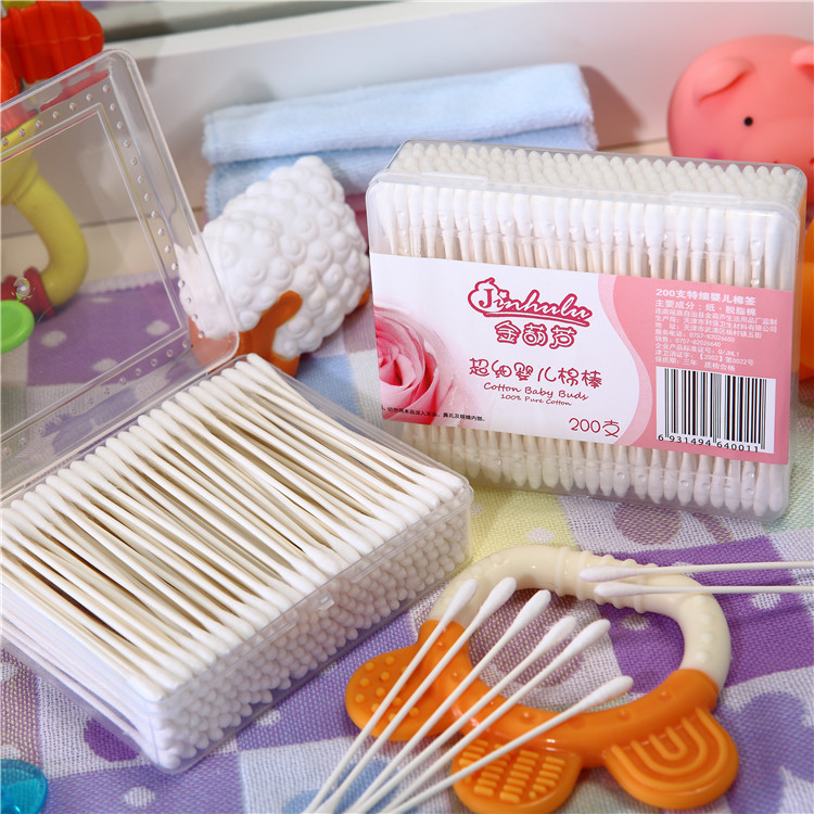 Natural Material Soft Q Tips/Paper Stick Ear Swab/Baby Cotton Bud in Box